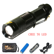 CREE XML T6 LED Powerful Aluminum Alloy Tactical LED Torch Flashlight+EU/US Charger+18650 Battery+Bicycle Clip+Plastic Box(China (Mainland))