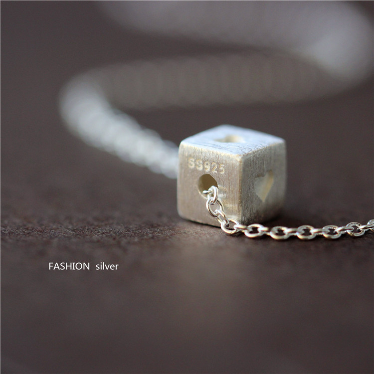 2015 summer new arrival Silver s925 pure silver cube heart necklace exquisite gift romantic(China (Mainland))