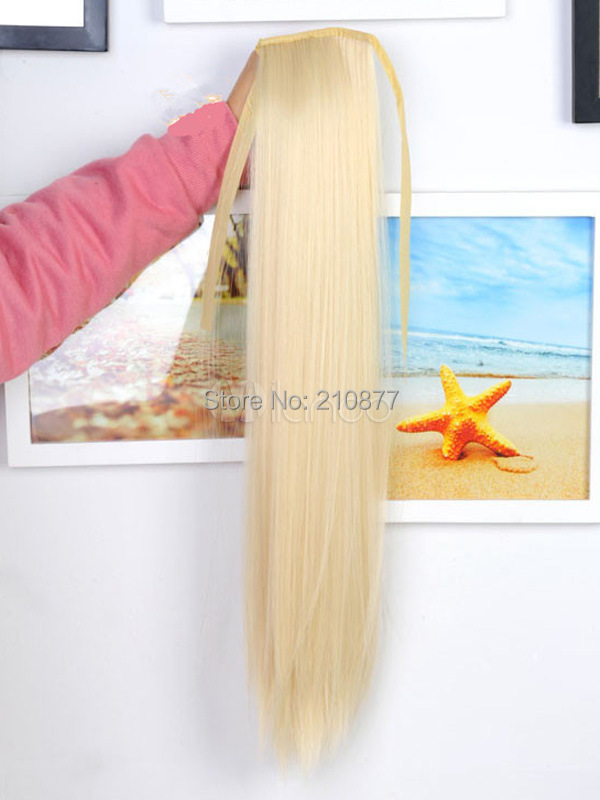 20 inches Long Ecru White straight Kanekalon Ponytail(China (Mainland))