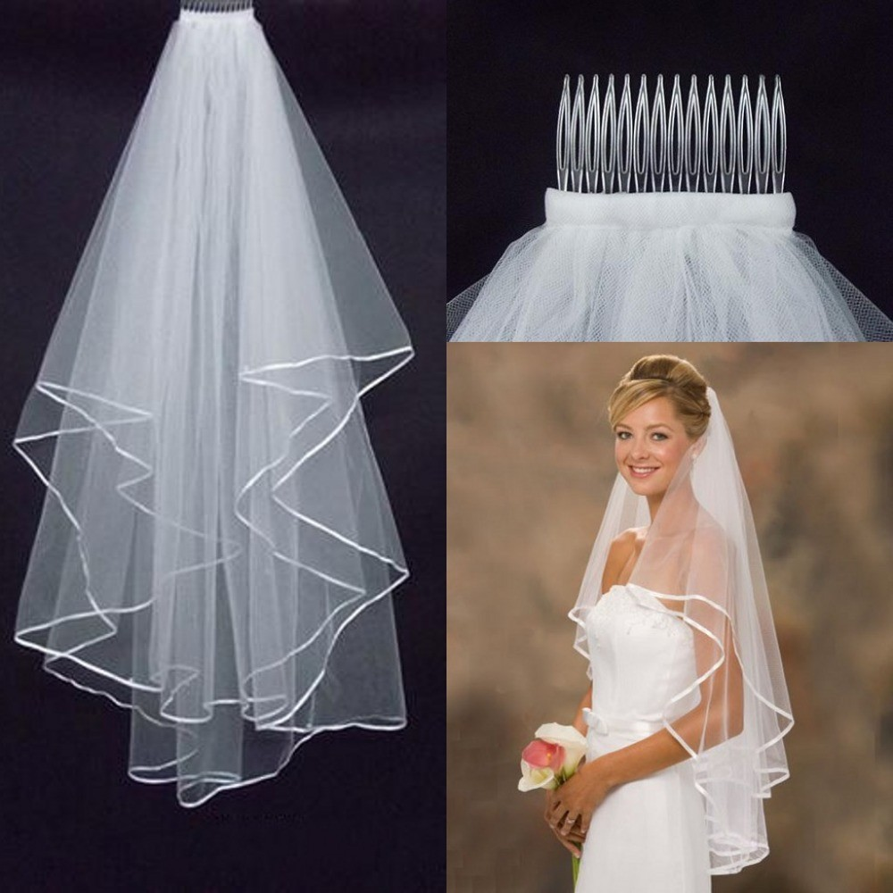 Cheap Simple White Ivory Two Layers Tulle Short Bride Wedding Veil Comb Ribbon Edge Bridal Viel Wedding Accesories