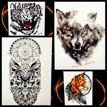 Forest Timber Wolf Waterproof Temporary Tattoo Black Ink Body Art Arm Sleeve Tattoo For Men Women Water Transfer Tatoo Sticker