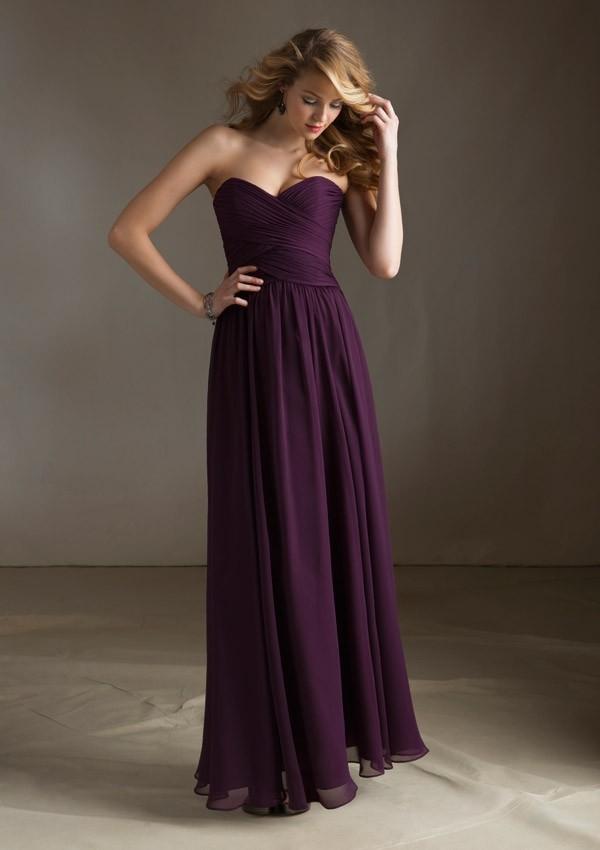 Sweetheart Burgundy Purple Bridesmaid Dress Chiffon Floor Length Long Purple Dresses For