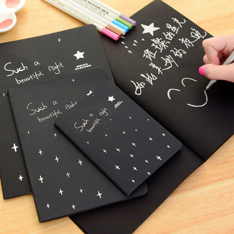 1 Notebook Diary Black Paper Notepad 16K 32K 56K Sketch Graffiti Notebook for Drawing Painting Office School Stationery Gifts(China (Mainland))