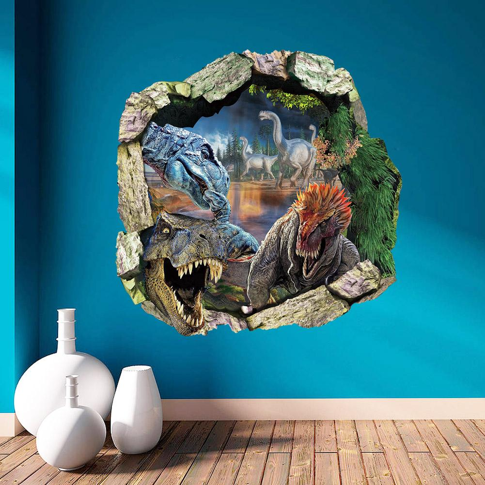 3d dinosaurs through the wall stickers jurassic park home decoration zooyoo1439 diy cartoon kids room wall decal movie mural art(China (Mainland))