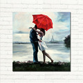 Lovers Rainy Romance Picture Art Hand Painted Eiffel Tower Landscape Oil Painting On Canvas For Home