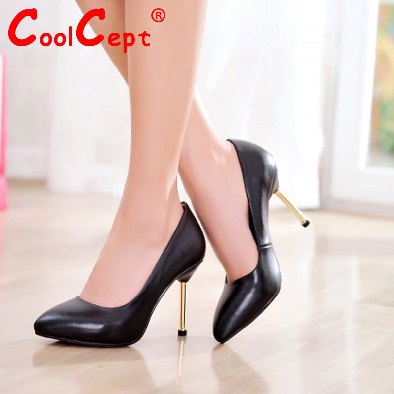 women real genuine leather dress high heel shoes woman pointed toe sexy fashion brand pumps ladies heels shoes size 34-39 R7137<br><br>Aliexpress