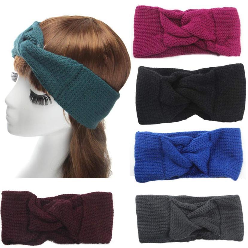 women headband Knitting wool girl Bohemia Knitting Headband Handmade Hairband Cross shilly head bows accessories ties 18*10cm(China (Mainland))