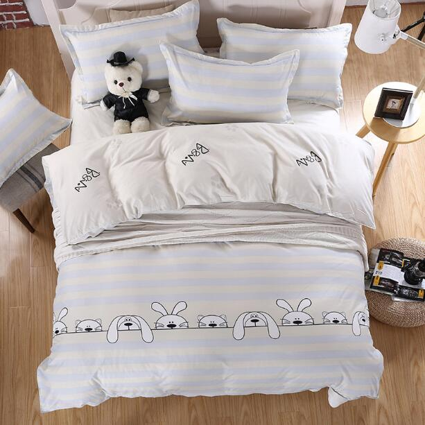 2017 New Arrival Cartoon Kids Cute Dog Design White Color Quilt Cover Duvet Cover Queen Size Duvet Cover Bedding Sets(China (Mainland))