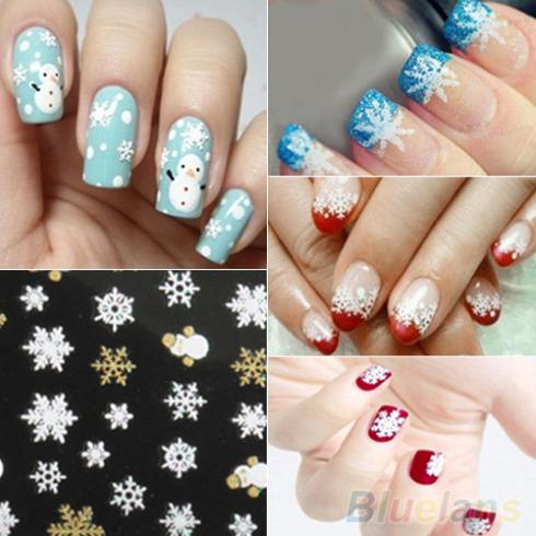 Гаджет  Snowflakes Snowman 3D Nail Art Stickers Decals Girl Fingernail Accessories  None Красота и здоровье
