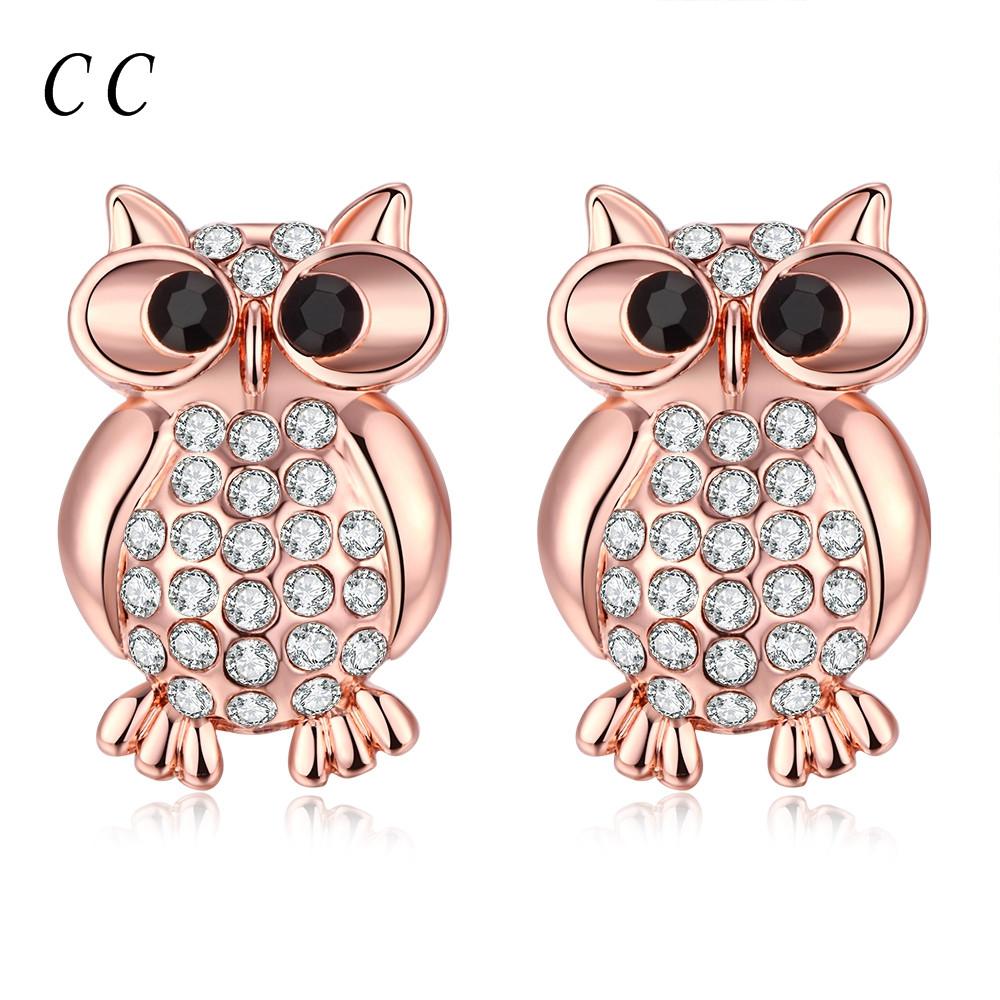 Cute owl transparent rhinestone 18K rose gold plated stud earrings for women fashion jewelry bijoux girls' gifts CCNE0221(China (Mainland))