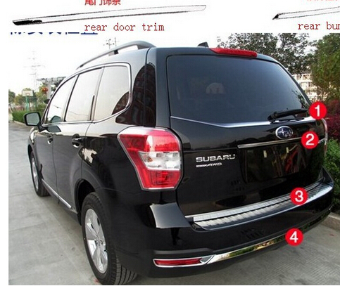 NEW!  4pcs rear window cover+ Rear Trunk Lid Cover +door sill cover + rear bumper cover trim for 13 14 Subaru Forester 2013 2014<br>