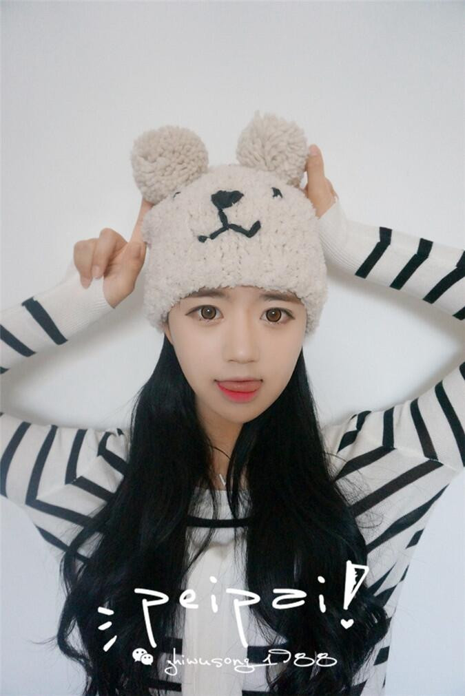 2016 Handmade autumn and winter Europe Fashion Bear plush knit cap With Ears Girls Winter Hats Female Skullies & Beanies