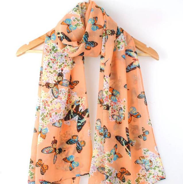 2016 новое поступление высокое качество горячая распродажа мода бабочки печатных шарф женщины длинные размер 160 * 70 см зима шарф платок