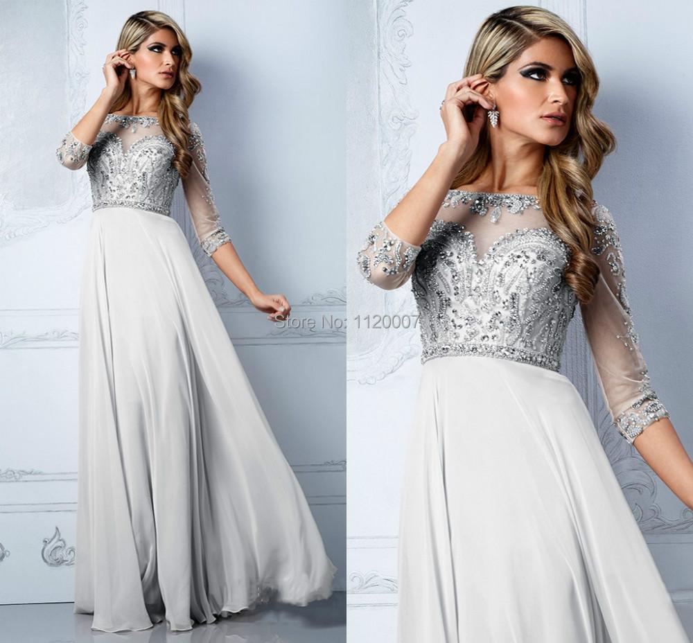 Designer prom vestidos de fiesta long evening dress with sleeves