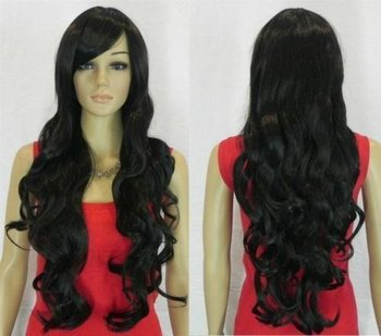 New stylish long black curly healthy women hair wig