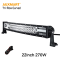 Auxmart 22Inch 270w LED Light Bar Tri Row Offroad Combo Beam Curved Light For 4x4 4WD