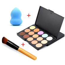 2016 New Professional Brush Puff Foundation Cream Round Face Contour Kit Color Corrector 15 Concealer Palette Makeup Sets(China (Mainland))