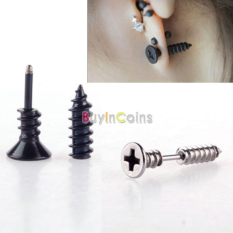 1 Pair Fashion Unisex Fine Stainless Steel Whole Screw Ear cuff Stud Earrings Jewelry US AS #48360(China (Mainland))