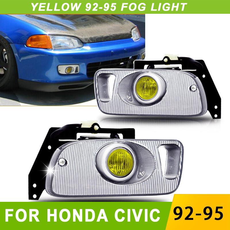 Yellow Fog Lights For Honda Civic 92 95 2/3DR EG Car H3 Led Fog Light 12v Bulb Front Bumper Fog Lights Full set With Switch(China (Mainland))
