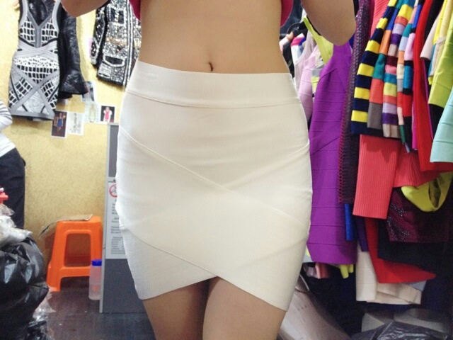 Super Cheap! New Womens Knitted Bandage Wrap Pencil Skirts High Low Asymmetrical Full Sized Candy Color High Waist White HL 1441(China (Mainland))