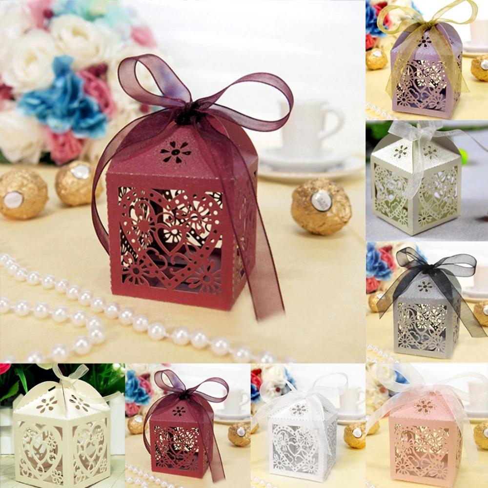 Hot sale 10Pcs/set Love Heart Party Wedding Favor Ribbon Candy Boxes Gift Box Free Shipping(China (Mainland))