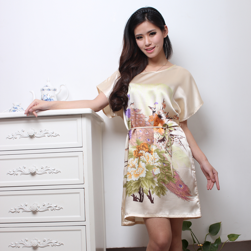 2015 New Arrival Fashion Sexy Women Round Collar Nightgown Printed,Hot Sale Beige Knee-Length For ladies for summer,autumn(China (Mainland))