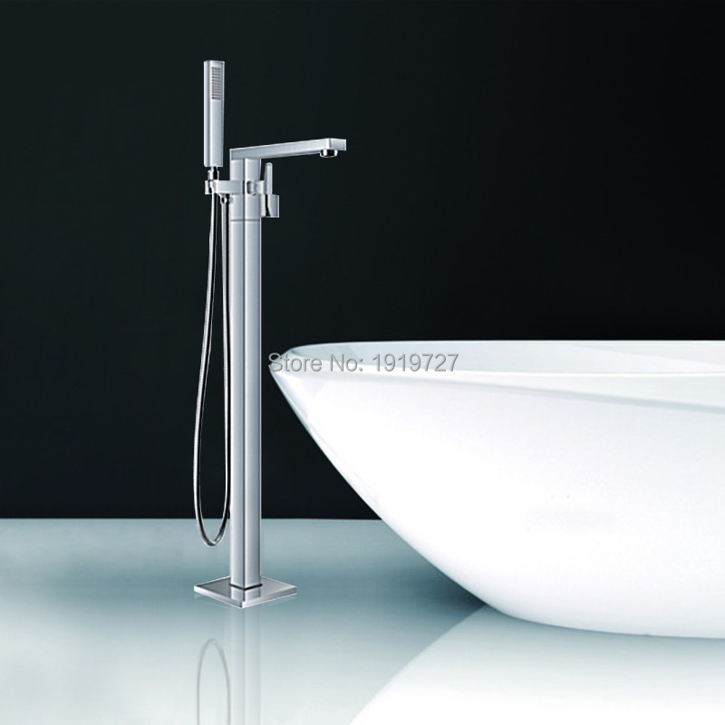 Floor Standing Faucet Bathroom Square Floor Deck Mounted Bathtub Faucet Freestanding Floor Bath Faucet(China (Mainland))