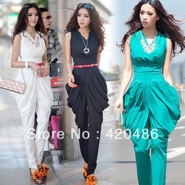 Nouveau mode femmes parti taille haute salopette combinaison sarouel Graceful vert / noir / blanc livraison gratuite