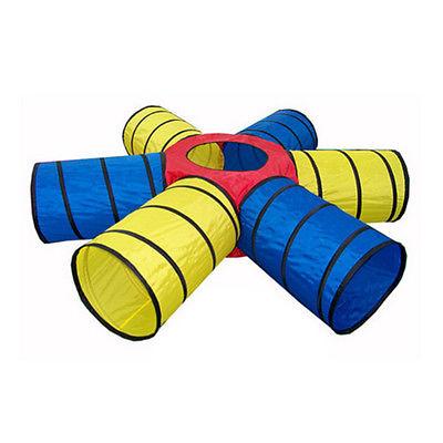 Tenda para crianças amarelo e azul engraçado jogo 6-way rastejando rastejando tubo túnel tenda mais de(China (Mainland))