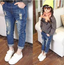 Jeans girls kids 2015 Autumn girls hole jeans wash water the trend of retro finishing children's denim pants(China (Mainland))