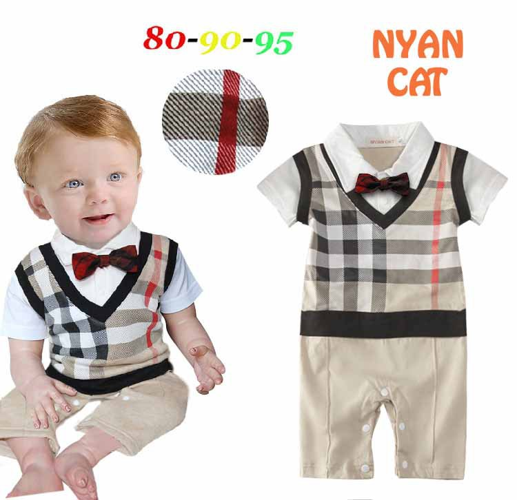 2015 New Summer Baby Rompers Short Sleeve Fashion Plaid Vest Bow Tie Baby Boy Romper Baby Costume Jumpsuit Baby Clothes 1510(China (Mainland))