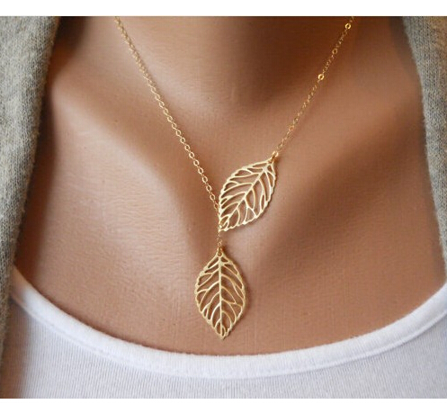 N607 Yiwu Aliexpress Hot Selling Wholesale Jewelry The Two Gold Silver Plated Leaves Fall Short Necklace