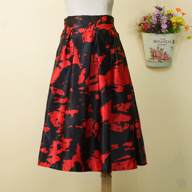 New Arrival High Waist Skirt Women Fashion Summer Style Jupe Printed Mid Calf Skirts for Girls