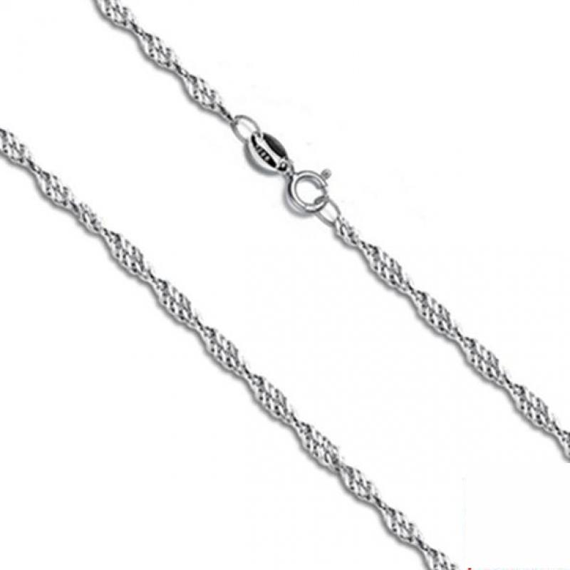 Solid 925 Sterling Silver Chain Necklaces For Woman Torsion Wave Type 18 Inch Fashion Jewelery Bijoux Femme(China (Mainland))