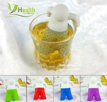 2016 hot svegli 1 pz mr tea infusore/creativo tè filtro  /Comodo setaccio del tè/materiale del silicone del commestibile/5  Colori(China (Mainland))