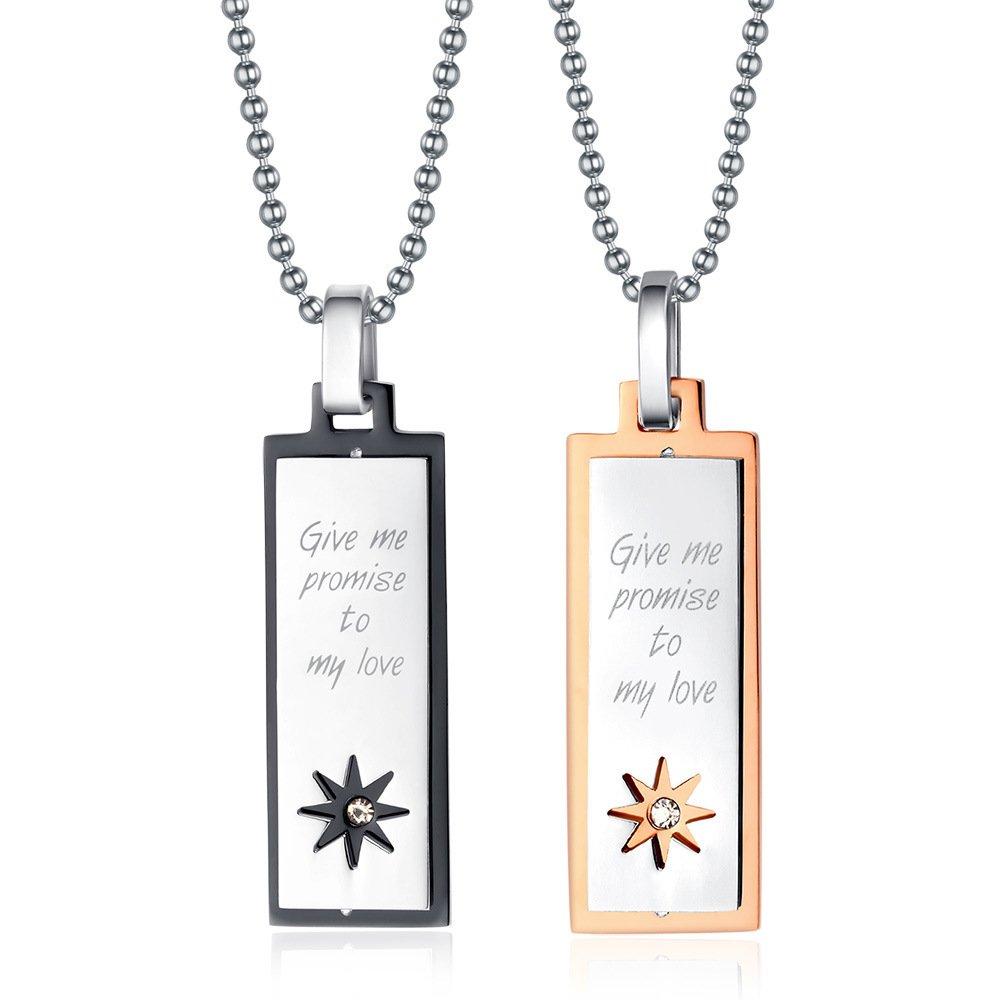 Fashion Promise Love Necklaces & Pendants Rose Gold&Black Color Stainless Steel Pendants Fine Summer Statement Jewelry(China (Mainland))