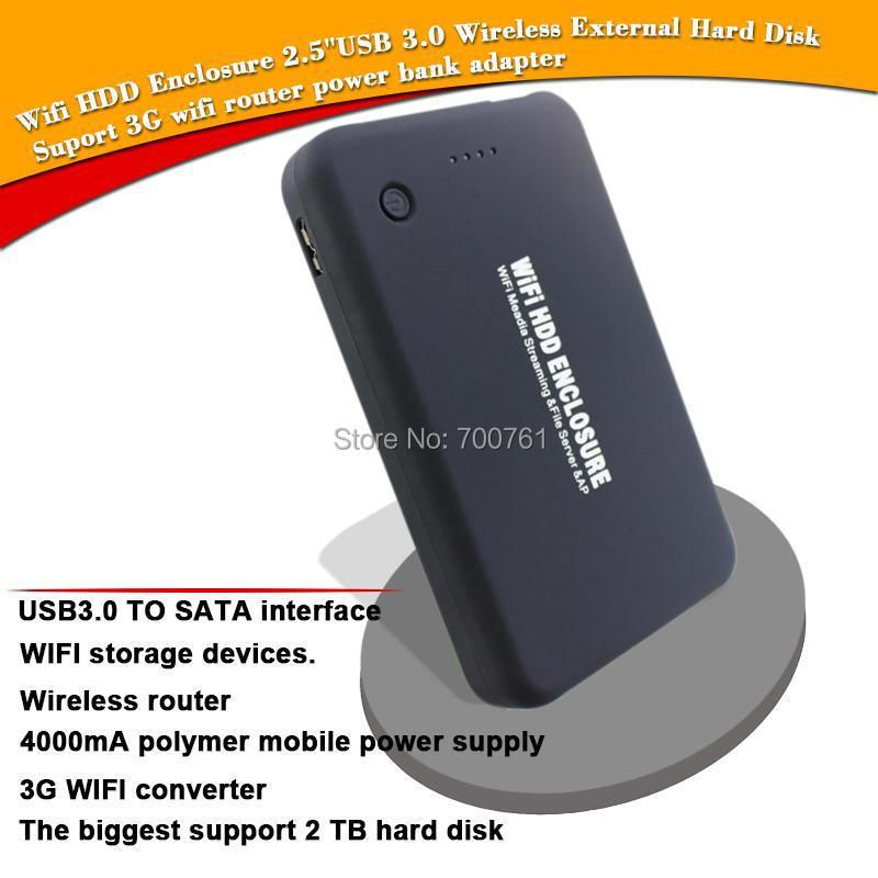 Wifi HDD Enclosure 2.5'' SATA ,USB3.0 Wireless HDD External case Hard Disk,3G wifi router 4000MA power bank for Notebook PC(China (Mainland))