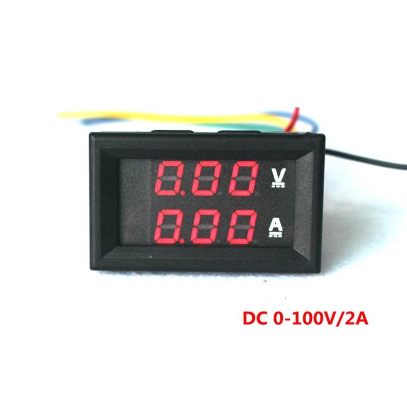DC 0-100V/2A Red LED Digital DC voltmeter ammeter volt voltage ampere current meter car Battery Monitors