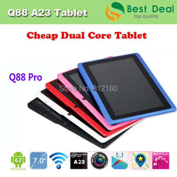 Wholesale Q88 Allwinner A23 Android 4.2 Dual Core Tablet PC 7 inch Capactive Screen WIFI 512M/4GB,5pcs/lot DHL Free Shipping(China (Mainland))
