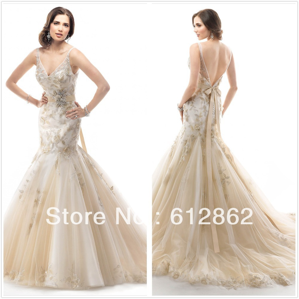Online Get Cheap Lace and Gold Wedding Dress Mermaid -Aliexpress ...