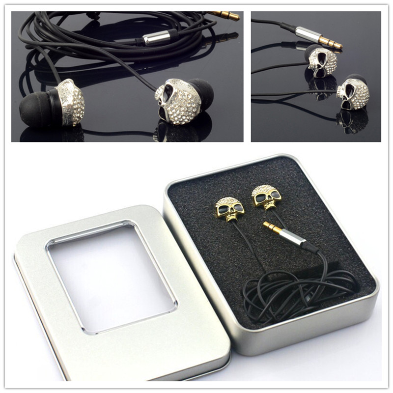 3.5mm In-ear Stereo Diamond Metal Skull earphone candy Earphones Earbuds For iPhone iPod MP3 MP4 PC With Metal Box(China (Mainland))