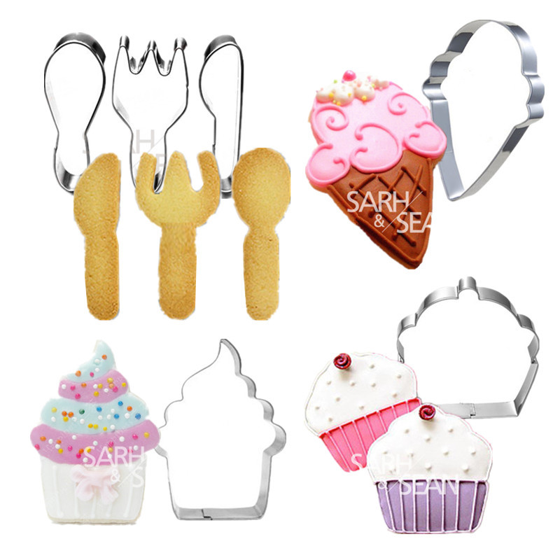 4pcs/set Metal Stainless Steel Cutters Delicious Desserts and Spoons Set Biscuits Cutters Tools Decorations(China (Mainland))