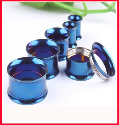 internally blue screw flesh tunnel(F77)Free shipping mix(5-20mm)72pcs/lot stainless steel ear plug tunnel body  jewelry<br><br>Aliexpress