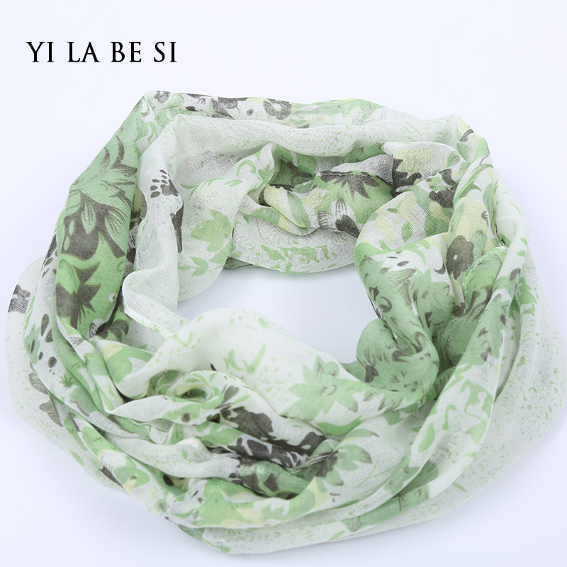 2016 Women Flower Loop Scarf Female Small Floral Print Chevron Ring Scarves Winter Plants Infinity Shawl Wrap(China (Mainland))