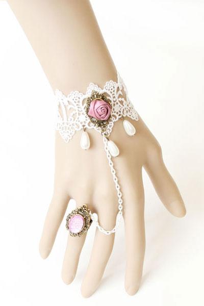 Dress banquet accessories white lace decoration diamond ring bracelet 0852(China (Mainland))