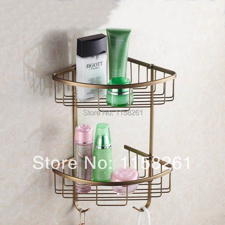 Wall Mounted Antique finish NEW Brass Bathroom Shower Shelf Triangle Basket Holder Building materials HJ-118