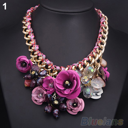 2014 Hot Fashion & Luxury Women necklace Gold Chain Rhinestone Crystal & Rose Flower Bib Statement Flower Necklace 1EHU(China (Mainland))