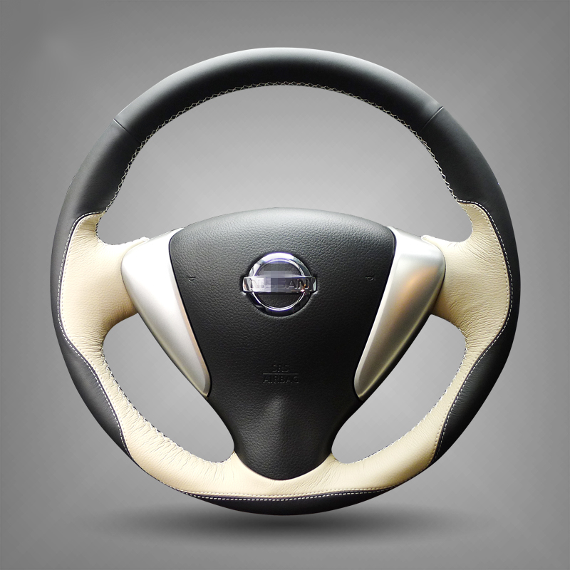 Black Beige Leather Car Steering Wheel Cover for Nissan Tiida Sylphy Sentra 2014 Note(China (Mainland))