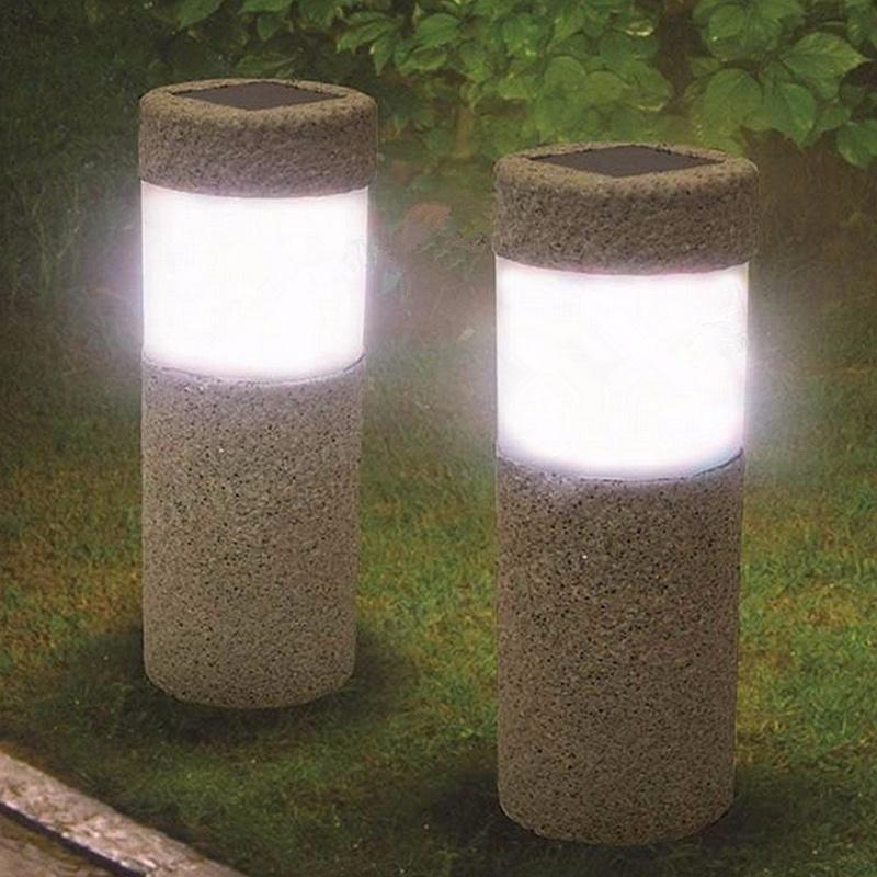 1pc Solar Power Stone Pillar White LED Solar Lights Outdoor Garden Light Lawn Lamp Courtyard Decoration Lamp 5W(China (Mainland))