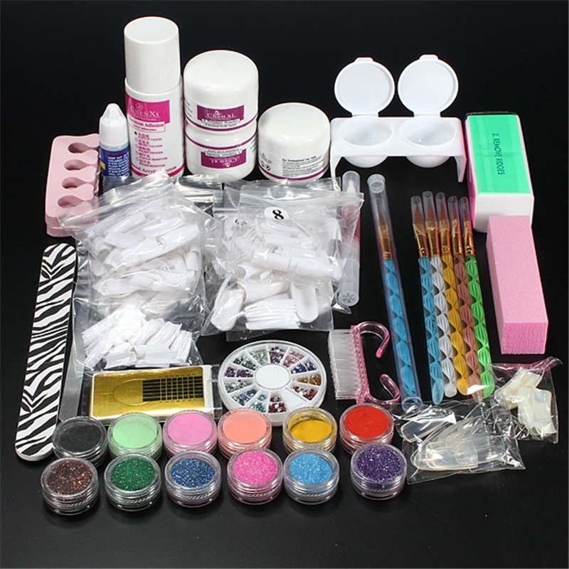 Fashion Nail Art Set Kit Acrylic Powder Liquid Glitter Glue Toes separator Brush Tweezer Primer Tips Decorations Manicure Tools(China (Mainland))